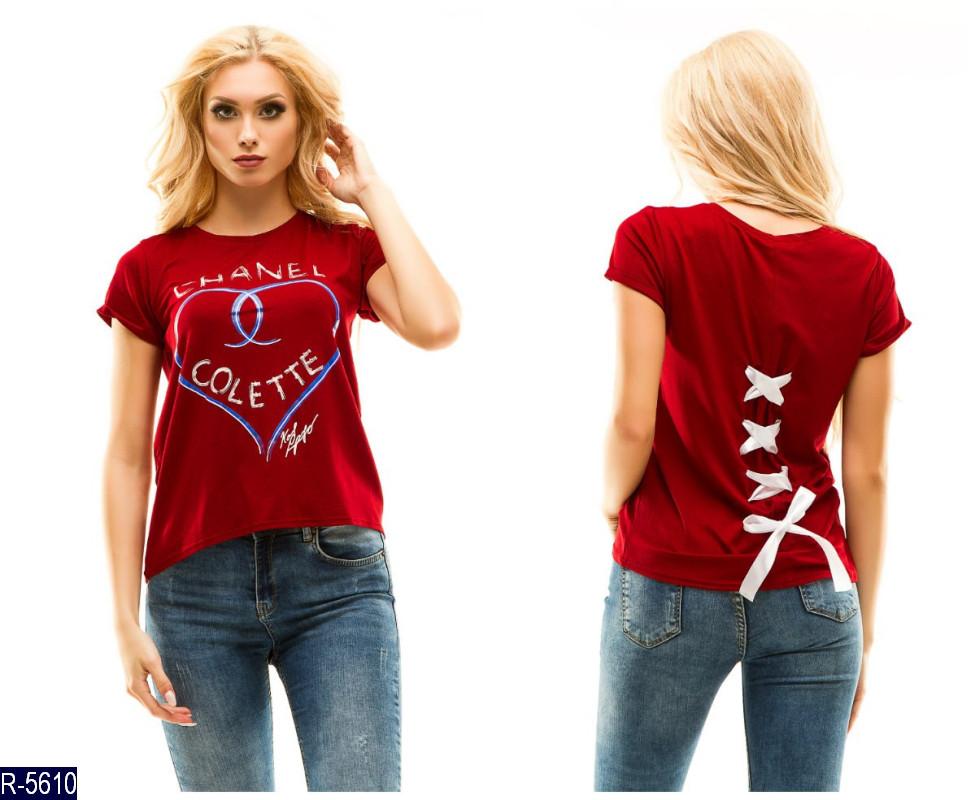 52f04384a680 Футболка женская шанель Сердце (футболка с лентой) ткань  вискоза 42-46  темно