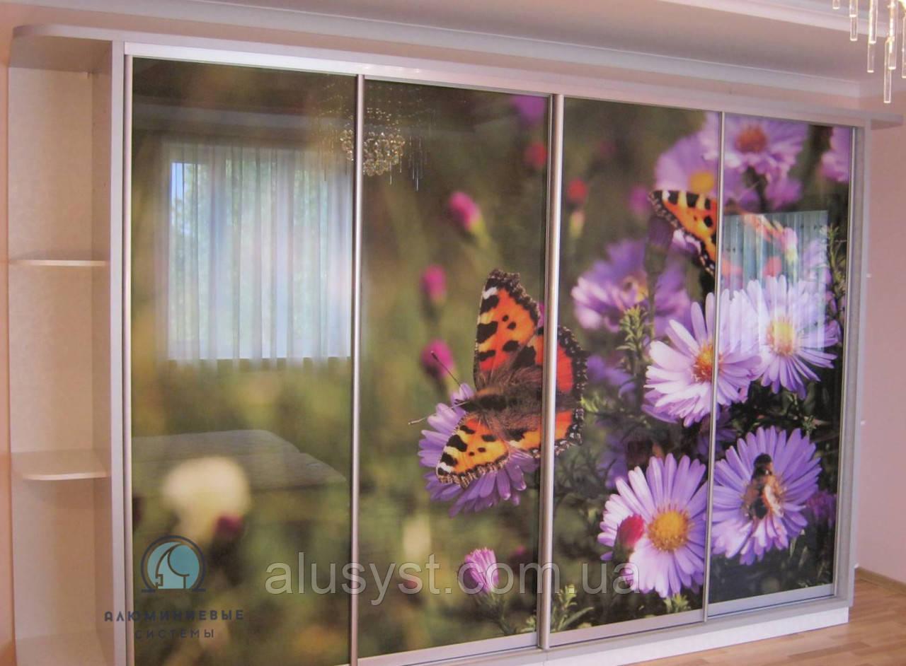 Шкаф-купе - фасады с наполнением стекло фотопечать под заказ