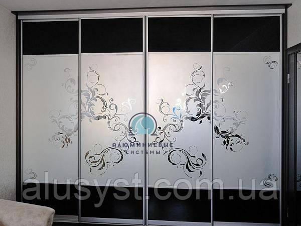 Двери в Шкаф-купе.Фасады с наполнением стекло пескоструй