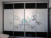 Двери в Шкаф-купе.Фасады с наполнением стекло пескоструй, фото 1