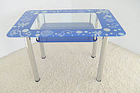 """Стол обеденный стеклянный на хромированных ножках Maxi DT R 1100/700 (2) """"лагуна"""" стекло, хром, фото 1"""