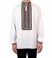 Біла чоловіча вишиванка на довгий рукав з кольоровим орнаментом ручної роботи, фото 1