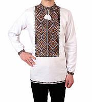 Біла чоловіча вишиванка на довгий рукав з кольоровим орнаментом ручної  роботи 8f16161d533ce