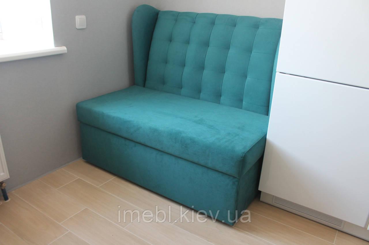 диван со спальным местом в маленькую кухню бирюзовый на заказ