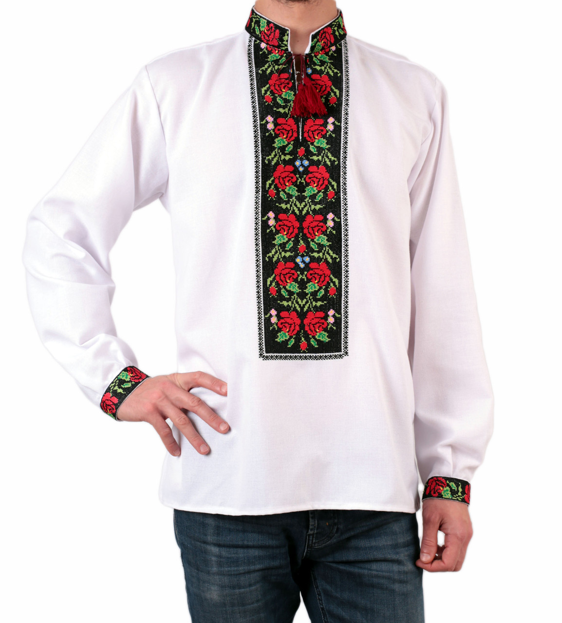 Біла чоловіча вишиванка на довгий рукав з квітковим орнаментом машинної роботи