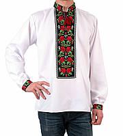Біла чоловіча вишиванка на довгий рукав з квітковим орнаментом машинної роботи, фото 1
