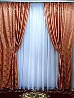 Шторы из жаккардовой ткани без ламбрекена Под заказ, фото 1