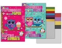 """Цветная бумага+картон А4 (12+10) """"Cute little owl"""" 7497"""