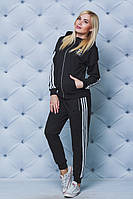 Женский спортивный костюм с лампасами черный, фото 1
