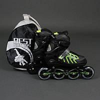 """Ролики 9015 """"L"""" Green - Best Rollers /размер 39-42/ (6) колёса PU, без света, d=9см"""