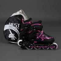 """.Ролики 6006 """"M"""" Pink - Best Rollers /размер 35-38/ (6) колёса PU, без света, d=7см , фото 1"""