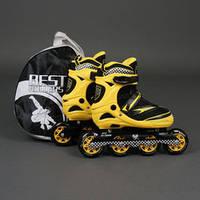 """.Ролики 6014 """"L"""" Yellow - Best Rollers /размер 39-42/ (6) колёса PU, без света, d=9см , фото 1"""