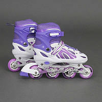 """Ролики 2001 """"S"""" Best Rollers цвет-ФИОЛЕТОВЫЙ /размер 30-33/ (6) колёса PVC, переднее колесо со светом, переставные колёса, d=6.4 см"""