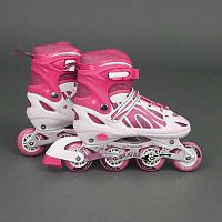 """Ролики 2002 """"М"""" Best Rollers /размер 35-38/ цвет-РОЗОВЫЙ (6) колёса PVC, переднее колесо со светом, в сумке, d=7см"""