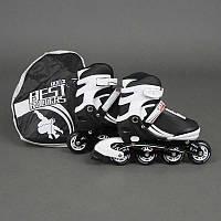 """Ролики 9002 """"М"""" Best Rollers цвет-БЕЛО-ЧЕРНЫЙ /размер 35-38/ (6) колёса PU, без света, в сумке, d=7 см"""