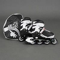 """Ролики 9001 """"S"""" Best Rollers цвет-БЕЛО-ЧЕРНЫЙ /размер 31-34 (30-33)/ (6) колёса PU, без света, в сумке, d=6.4 см"""