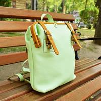Кожаный городской рюкзак Citizen | Фисташка-Янтарь, фото 1
