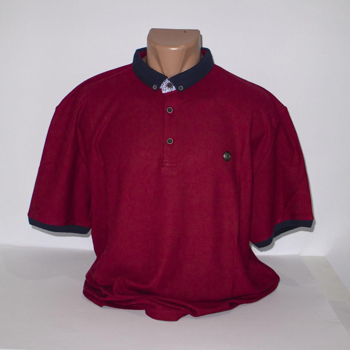 Мужская бордовая Супербатальная футболка лакоста пр-во Турция N7086G