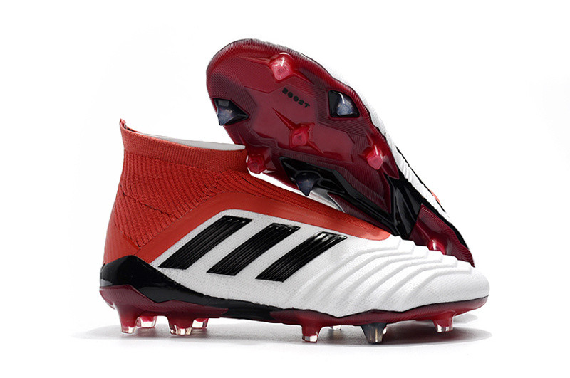 1b05a6aa0184 Бутсы adidas Predator 18+ FG white red - Интернет-магазин