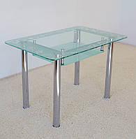 """Стол обеденный стеклянный на хромированных ножках Maxi DT R2 1100/700 """"фантазия"""" стекло, хром, фото 1"""