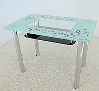 """Стол обеденный Maxi  DT R2 1100/700 """"кубик"""" стекло, хром, фото 1"""