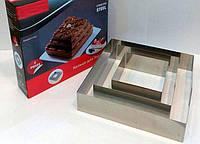 """Кольцо для торта """"Квадрат"""",  резак для торта, нержавеющая сталь, 3 шт в наборе"""