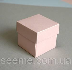 Бонбоньерка для свадьбы 50x50x50 мм, цвет перламутровый персиковый