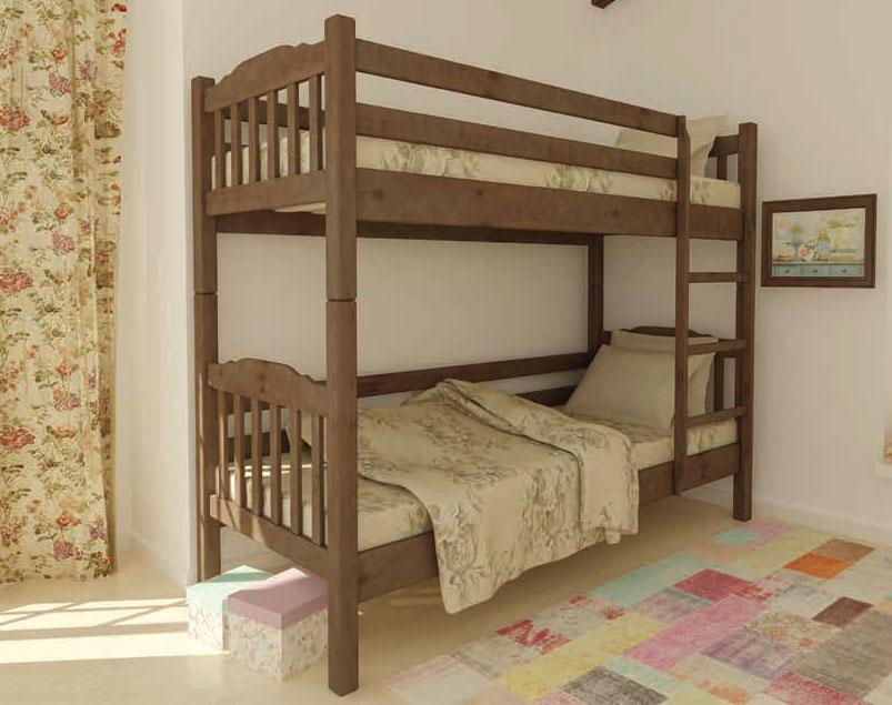 Кровать двухъярусная деревянная Бай-бай 80х200 Mebigrand сосна орех светлый