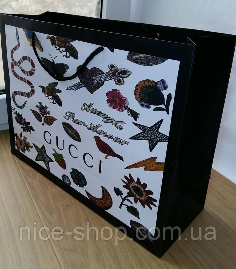 Подарунковий пакет Gucci: горизонталь, махі, фото 2