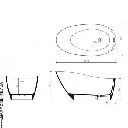 Ванна мраморная Marmorin Mia (Freestanding) 1678х894х790, фото 2