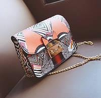 Женская сумочка маленькая на цепочке с этно принтом , фото 1