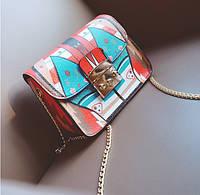 Женская сумка маленькая на цепочке с этно рисунком , фото 1