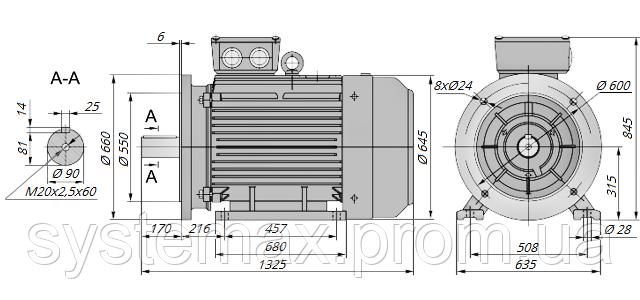 АИР315М6 / АИР 315 М6 / IM 2081 / IM2081 / комб / комбинированный / фланцевый / 132 кВт / 1000 об/мин
