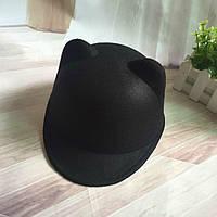 Шляпа женская фетровая жокейка Кошечка с ушками черная, фото 1