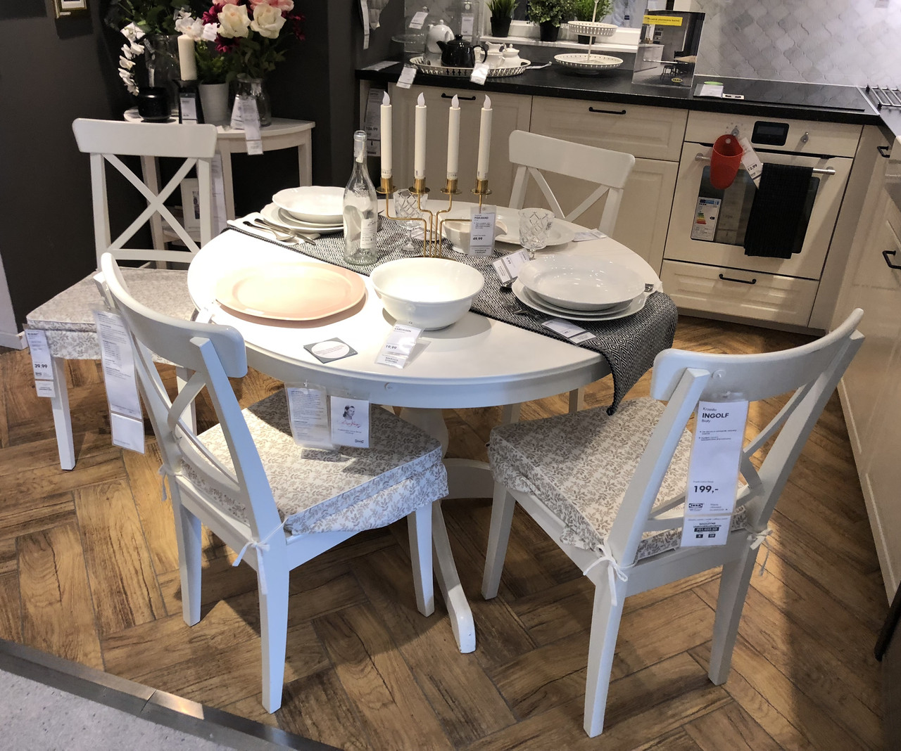 набор мебели круглый стол 4 стулья икеа Ikea цена 17 936 грн