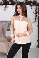 Блуза с прозрачной кокеткой в персиковом цвете, фото 1