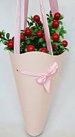 """Пакет """"Конус"""" для цветов  """"Розовый"""""""