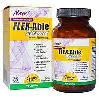 Country Life, Flex-Able Advanced для суставов с глюкозамином и биоактивным коллагеном II типа, 90 капсул