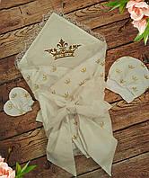 "Конверт на выписку ""Корона"", набор на выписку(конверт, шапочка, нецарапки), летний конверт-одеяло"