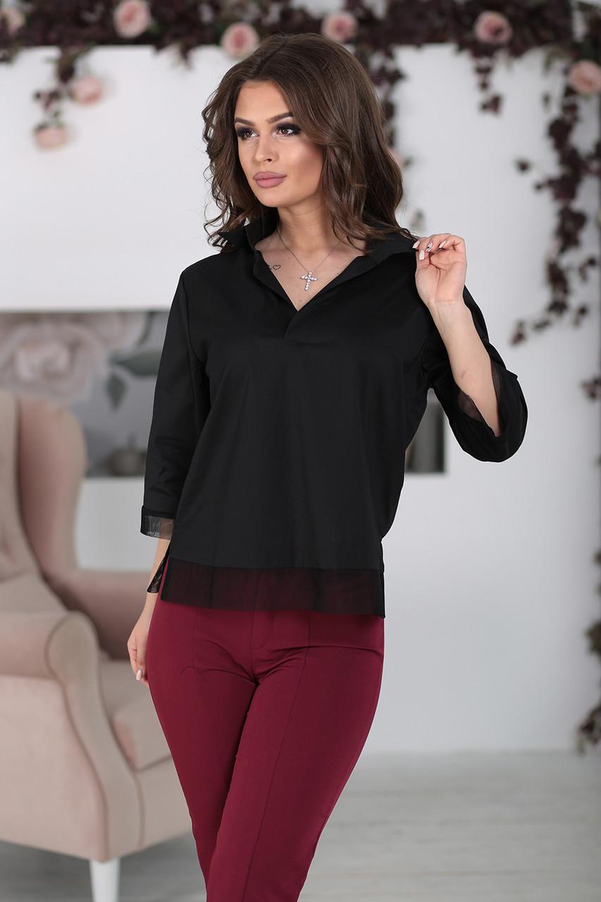 Деловая черная Блуза Ирэн