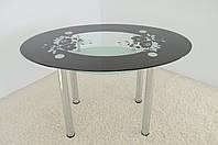 """Стол обеденный стеклянный на хромированных ножках Maxi  DT О2 1240/830 """"маки"""" стекло, хром, фото 1"""