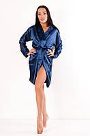 Халат женский атласный Грейс DONO, тёмно-синий