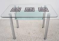 """Стол обеденный Maxi  DT R2 1100/650 """"капучино"""" стекло, хром, фото 1"""