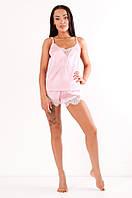Комплект атласный Инесса DONO, розовый/белое кружево