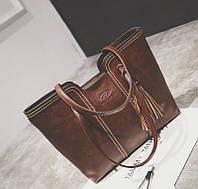 Женская сумка большая коричневая с кисточкой из качественной экокожи опт, фото 1