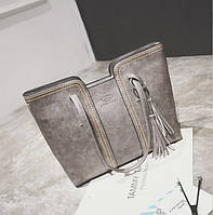 Женская сумка большая серая с кисточкой из качественной экокожи опт, фото 1