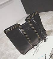 Жіноча сумка велика чорна з пензликом з якісної екошкіра опт, фото 1
