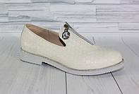 Стильные молочные туфли. Натуральная кожа. 1838