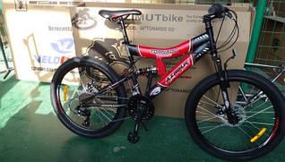 Горный подростковый велосипед 24 дюйма Azimut Tornado черно-красный