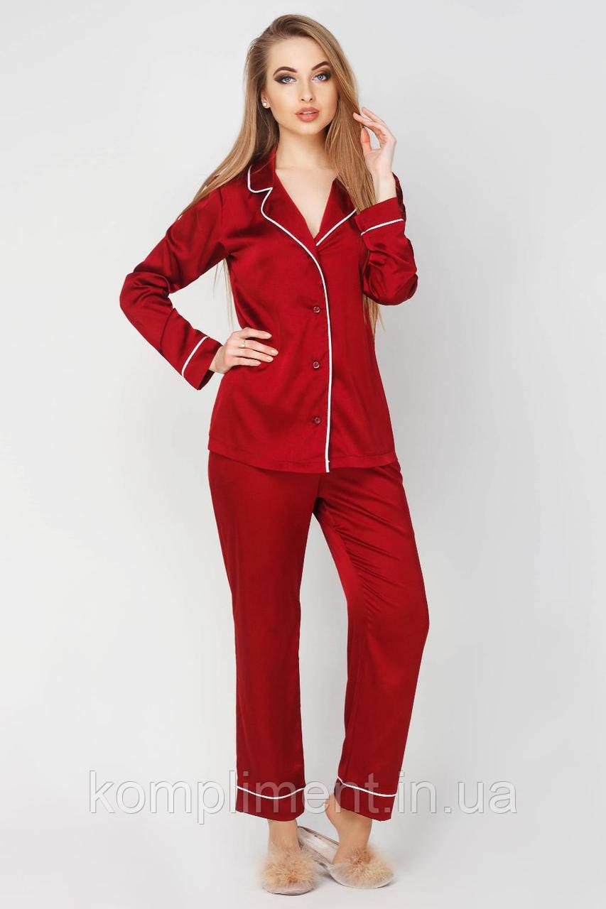 Пижама женская шелковая Кристи DONO, бордовый